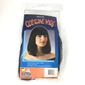 Costume Wig Short Black Wig with Straight Bangs